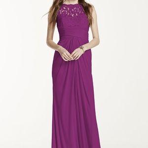 Raspberry Sleeveless Long Mesh Dress w/Corded Lace